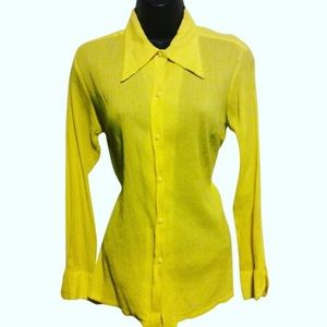 Vintage Christian Dior Yellow Cotton Shirt